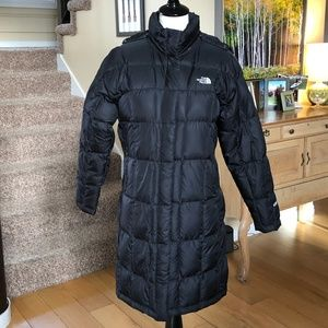 North Face 600 Long Black Down Puffer with Hood